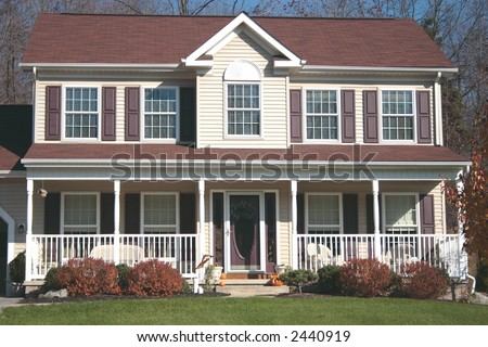 New Colonial two story Home - stock photo