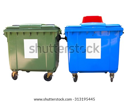 New colorful plastic garbage containers isolated over white background - stock photo
