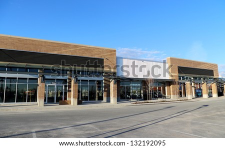 New Commercial Building with Retail and Office Space Available - stock photo