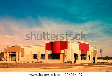New Commercial, Retail and Office Space available for sale or lease. Strip Mall. Commercial offices. Instagram style processing - stock photo