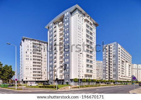 New complex of residential buildings - stock photo