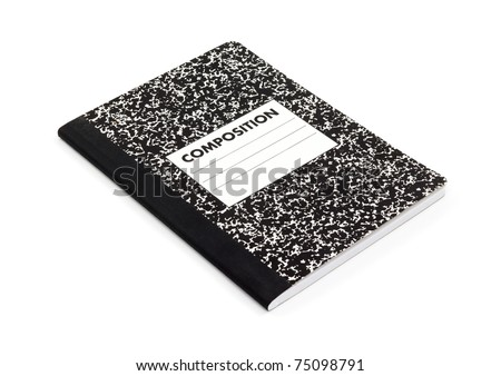 New composition notebook on a white background.