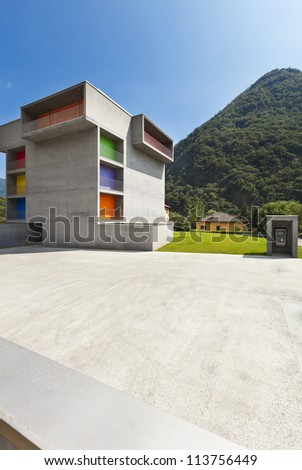 new concrete building, view from the square - stock photo