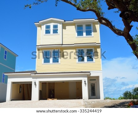 New constructed home for sale on the east coast of Florida, USA. - stock photo