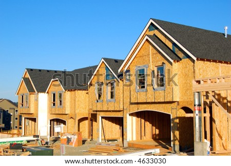 New Construction: Four houses in a Row - stock photo