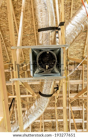 New construction heating ducts - stock photo