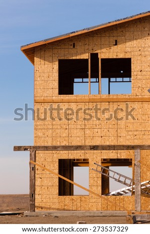 New Construction Houses Going Up Fast North Dakota Oil Boom - stock photo