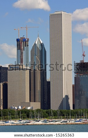 New Construction in Chicago's Changing Skyline, Vertical View - stock photo