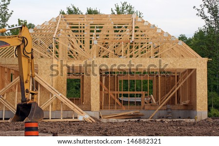 New construction of a home in a subdivision - stock photo