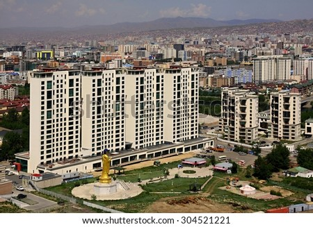 New construction of buildings in the capital city Ulaanbaatar,Mongolia - stock photo
