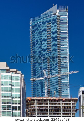 New construction of high-rise building in downtown