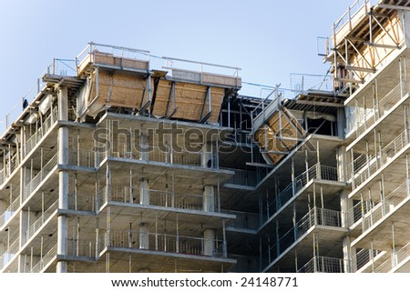 New construction site with building under development