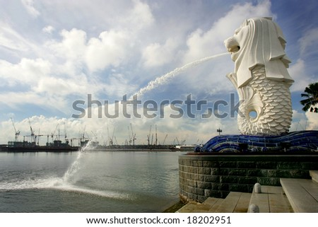 New constructions skyline and Merlion, Singapore - stock photo