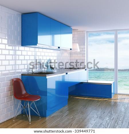 new contemporary blue kitchen furniture white stock illustration
