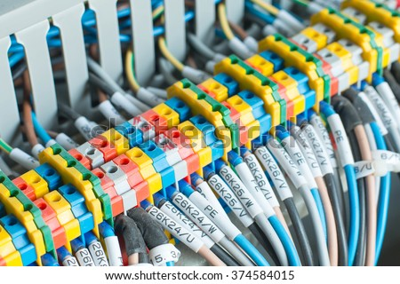 New control panel with circuit-breakers, fuses, rails, low voltage meters, current transformers, relays and other electrical equipment. - stock photo