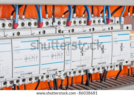 New control panel with static energy meters and circuit-breakers (fuse) - stock photo