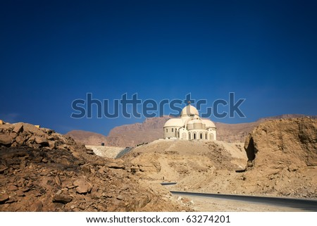 new Coptic Christian cathedral in Egyptian desert, St. Paul monastery - stock photo