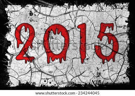 New creative calendar for any year to thrash background of destroyed buildings and graffiti based computer war games with terrorists. 2015. Massively multiplayer online RPG, Adventure, Action, stalker - stock photo
