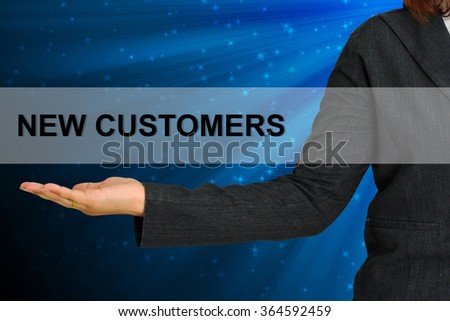 New Customers on hand business woman - stock photo