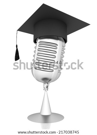 New 3d concept of education with microphone and graduation hat - stock photo