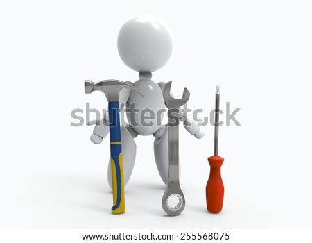 new 3D people shows and use tools -hammer , wrench, screwdriver
