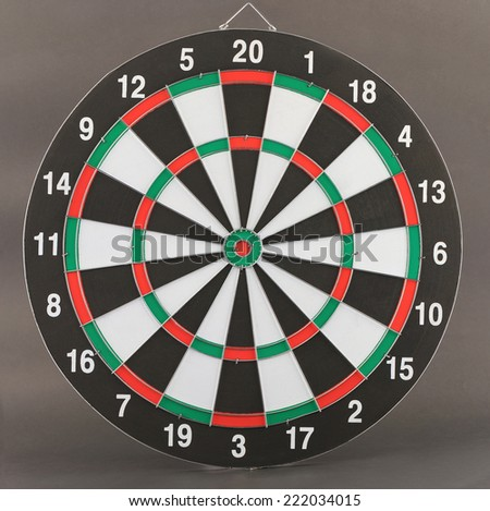 New dart board on dark gray background without arrow .