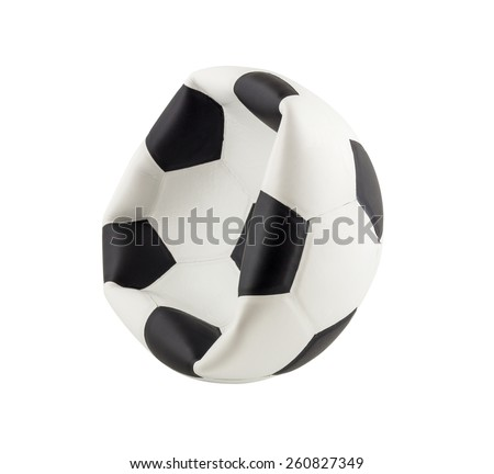 New deflated soccer ball isolated on white background - stock photo