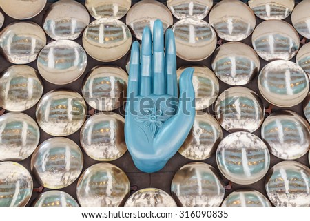 NEW DELHI - AUG 5: Mudras or Hand Gestures at Indira Gandhi International Airport on Aug 5, 2015 in New Delhi. The airport is the busiest airport in the country since 2009.