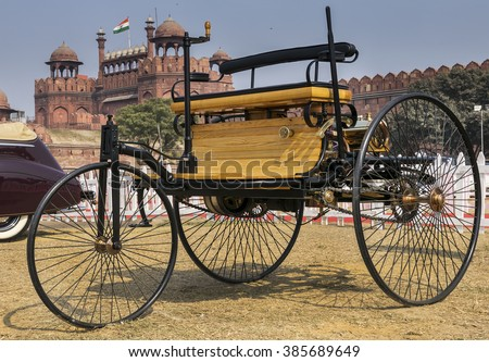 New Delhi, India - February 6, 2016: Benz Patent Motorwagen (or motorcar) 1886 worlds first petrol-fuelled automobile vehicle on display at Red Fort of New Delhi, India - stock photo