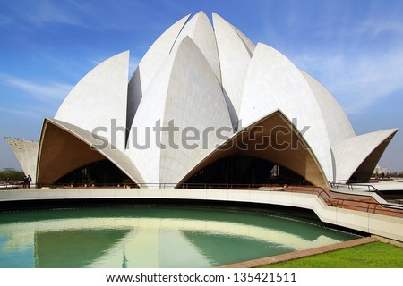 NEW DELHI, INDIA - FEBRUARY 16: Lotus Temple in Delhi. February 16, 2012 New Delhi, India.The Bahai House of Worship in New Delhi, popularly known as the Lotus Temple due to its flowerlike shape.