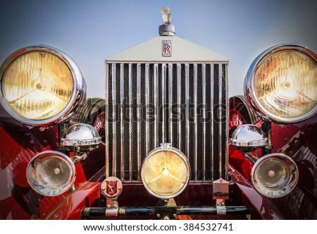 New Delhi, India - February 6, 2016: Oldtimer rallye vintage sport saloon Rolls Royce Phantom 1, built in 1926, parked on display at Red Fort, New Delhi - stock photo