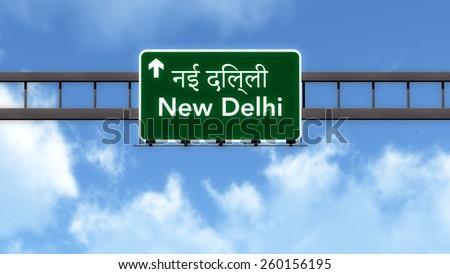 New Delhi India Highway Road Sign - stock photo