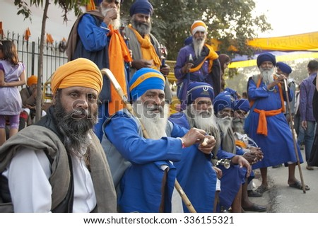 NEW DELHI, INDIA - MARCH 9: Group of unidentified Sikh men in a Dastar on March 9, 2014, New Delhi, India. Dastar is an item of headgear associated with an important part of the Sikh culture.