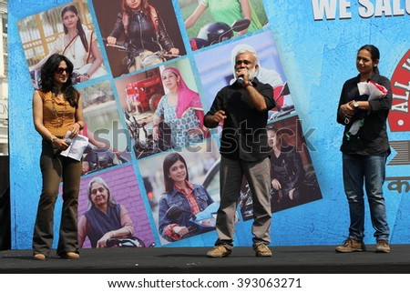 New Delhi, India - March 13, 2016: On the occasion of 4th All Women Bike Rally in New Delhi, Bollywood Film, Television actress, stage artists and fans encouraged the women participants.