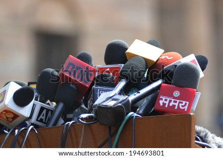 NEW DELHI-MAY 20: Indian Media microphones at  Rashtrapati Bhavan before press conference of Prime Minister Narendra Modi on May 20, 2014 in New Delhi , India.  - stock photo