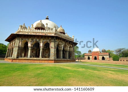 NEW DELHI - MAY 20: Isa Khan Tomb on May 20, 2013 in New Delhi. Isa Khan Tomb Complex was built in 1547 for Isa Khan Niyazi, a noble in the court of two rulers of the Suri dynasty. - stock photo
