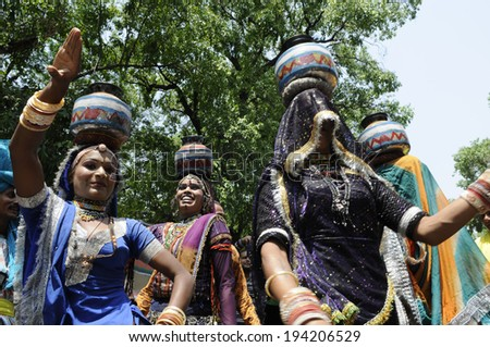 NEW DELHI-MAY 16:  Traditional Indian dancers performing  after BJP won the Indian National election on May 16, 2014 in New Delhi , India.