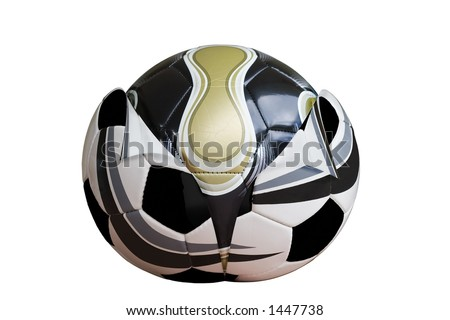 New design football emerging from old. Clipping path included.