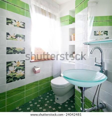 New design of toilet room - stock photo