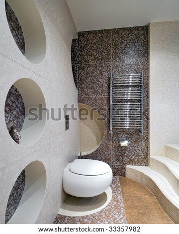 New design of toilet room with circle forms