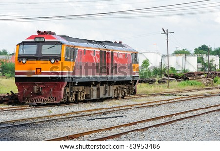 New diesel electric locomotive in the railway yard. - stock photo