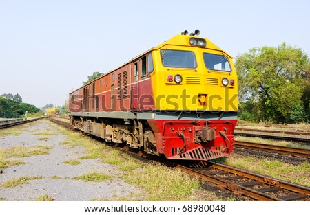 New diesel electric  locomotive in the railway yard of Ubanratchatani station - stock photo