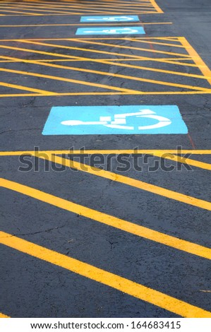 new disability parking lot on daytime - stock photo
