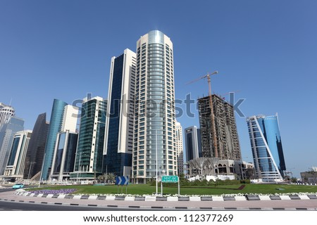 New downtown district West Bay in Doha, Qatar, Middle East - stock photo
