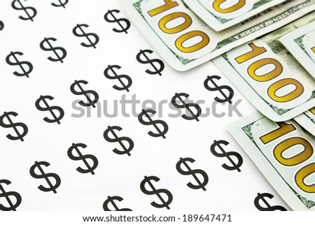 new edition dollar banknotes and dollar sign, currency and money for business concept