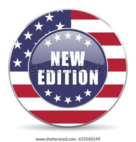 New edition usa design web american round internet icon with shadow on white background.
