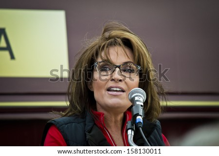NEW EGYPT, NEW JERSEY/USA OCTOBER 12: Former Alaska governor and political superstar Sarah Palin at the Tea Party rally for Steve Lonegan on October 12 2013 in New Egypt New Jersey. - stock photo