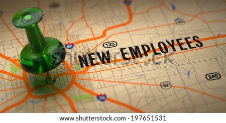 New Employees Concept - Green Pushpin on a Map Background with Selective Focus. - stock photo