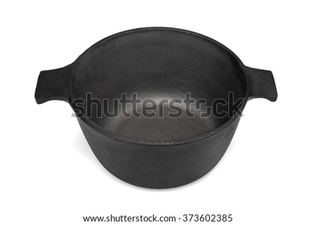 New Empty And Clean Classic Cast Iron Dutch Oven Or Pot Isolated On White Background, Close Up, High Angle View, Horizontal Image, Studio Shot - stock photo
