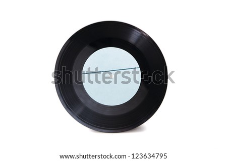 New empty blue with stripe gramophone vinyl record isolated on white background - stock photo